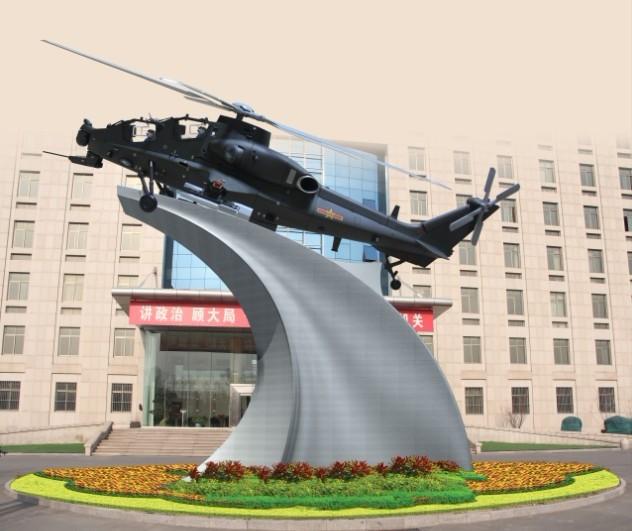 天津雕塑—不锈钢飞机底座雕塑制作进行中