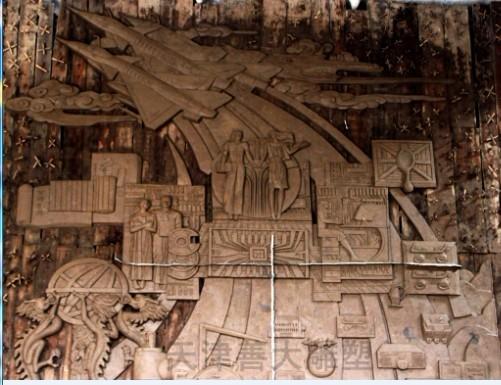 天津雕塑—大厅装饰浮雕制作进行中---天津航空机电