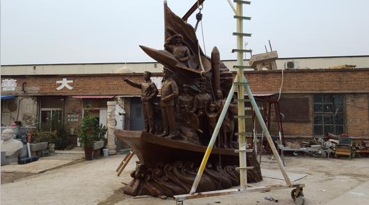 天津汉沽滨河广场双拥主题雕塑顺利竣工