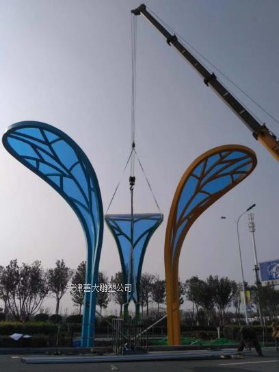 综合材料雕塑  不锈钢雕塑 亚克力板雕塑 太阳板雕塑  树叶造型雕塑