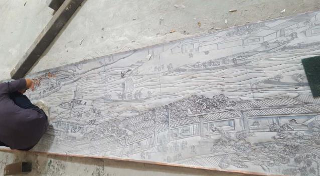 《清明上河图》锻铜浮雕制作过程 图纸设计- 图纸放大-细化图纸-铜板